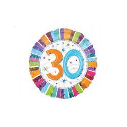 """Balon foliowy 18"""" CIR 30-te urodziny, 1szt"""