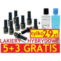 Lakiery Hybrydowe ZESTAW 5+3 GRATIS tylko 29zł !!