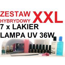 BIG ZESTAW MANICURE HYBRYDOWY 7x LAKIER LAMPA UV