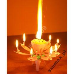 świeczka urodzinowa kwiatek fontanna tortowa
