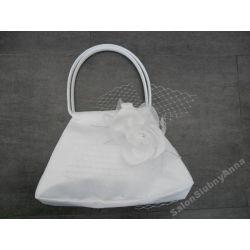 Piękna torebka ślubna ślub biała kwiat woal D9B