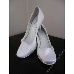 Ekskluzywne buty ślubne białe 40 włoski atłas 2014