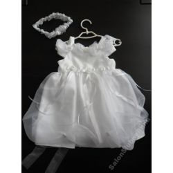 Urocza tiulowa sukienka ubranko do chrztu 74 D16B