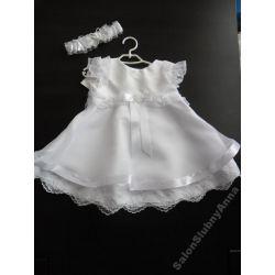 Urocza sukienka ubranko do chrztu koronka 74 D21B