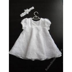 Urocza sukienka ubranko do chrztu koronka 74 D18B