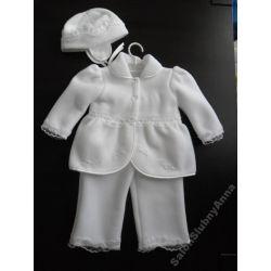 Ciepłe ubranko do chrztu polar koronka 74 D5B kpl