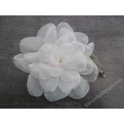 Stroik ślubny przypinka fascynator kwiat biały 75E