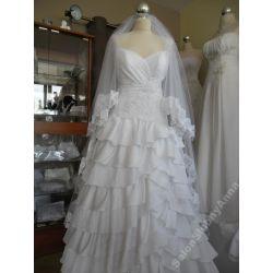 Welon ślubny biały 180cm hiszpańska koronka D202B