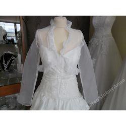 Piękne bolerko ślubne tiul białe OKAZJA!!! 38 D17B