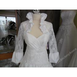 Ekskluzywne bolerko ślubne koronka białe 38 D61B