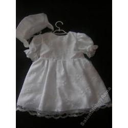 Urocza sukienka ubranko do chrztu 74cm D19B biała