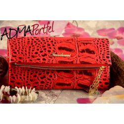 PIĘKNY modny SKÓRZANY portfel DAMSKI czerwony