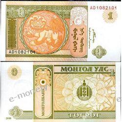 Mongolia 1 TUGRIK 2008 1919 - 1939 złote