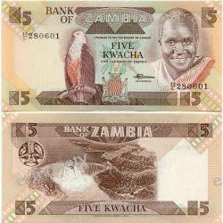 Zambia 5 KWACHA 1986 1916 - 1924 marki i ruble