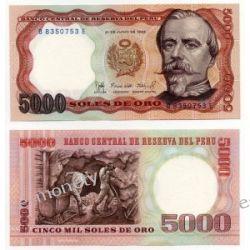 Peru 5000 SOLES 1985 1919 - 1939 złote