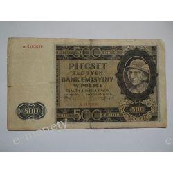 Polska 500 ZŁOTYCH 1940 s.III/IV Pieniądz papierowy