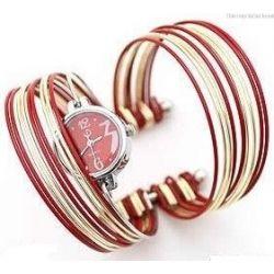 Oryginalny zegarek damski bransoleta czerwony nowy