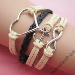 Bransoletka skórzana sznurek serce nowa modna