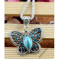 Oryginalny naszyjnik wisiorek motyl motylek turkus