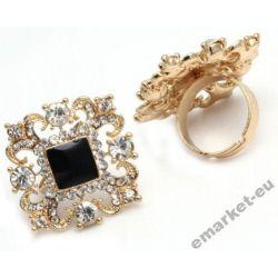 Oryginalny pierścień pierścionek duży cyrkonie