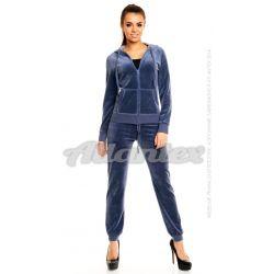 Dresy welurowe damskie |beFitness| komplet: bluza + spodnie, kolor: indygo - ciemnoniebieski, rozmiary od S do L