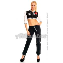 Spodnie dresowe damskie nogawki w ściągacz kolor: czarny