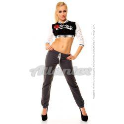 Spodnie dresowe damskie nogawki w ściągacz kolor: grafit