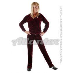 Dresy welurowe damskie komplet: bluza + spodnie prosta nogawka od S do 4XL kolor: bordo