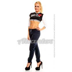 Spodnie dresowe damskie nogawki w ściągacz kolor: granatowy