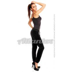 Spodnie dresowe welurowe damskie nogawki w ściągacz kolor: czarny