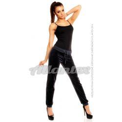 Spodnie dresowe welurowe damskie nogawki w ściągacz kolor: antracyt