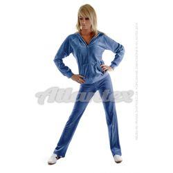 Dresy welurowe damskie komplet: bluza + spodnie prosta nogawka od S do 4XL kolor: indygo