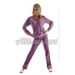 Dresy welurowe damskie komplet: bluza + spodnie prosta nogawka od S do 4XL kolor: jasna śliwka