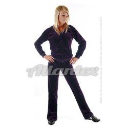 Dresy welurowe damskie komplet: bluza + spodnie prosta nogawka od S do 4XL kolor: ciemny fiolet
