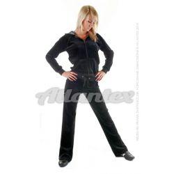 Dresy welurowe damskie komplet: bluza + spodnie prosta nogawka od S do 4XL kolor: czarny