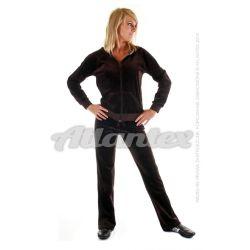 Dresy welurowe damskie komplet: bluza + spodnie prosta nogawka od S do 4XL kolor: ciemny brąz