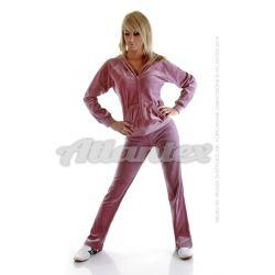Dresy welurowe damskie komplet: bluza + spodnie prosta nogawka od S do 4XL kolor: brudny róż