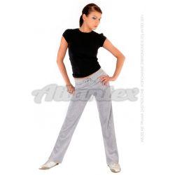 Spodnie dresowe welurowe damskie proste nogawki kolor: szary melanż