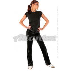 Spodnie dresowe welurowe damskie proste nogawki kolor: czarny