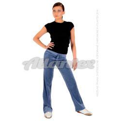 Spodnie dresowe welurowe damskie proste nogawki kolor: indygo