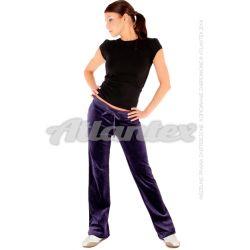 Spodnie dresowe welurowe damskie proste nogawki kolor: ciemny fiolet