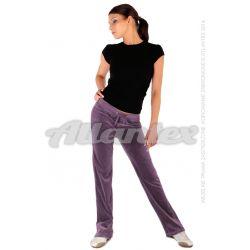 Spodnie dresowe welurowe damskie proste nogawki kolor: jasna śliwka