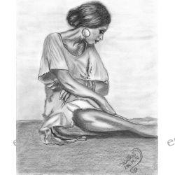 A woman - rysunek na papierze format A4