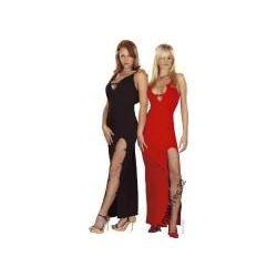 Długa sukienka z łańcuszkami czerwona Roxana :-)