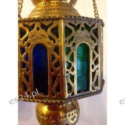 EGIPSKA ORIENTALNA LAMPA MOSIĘŻNA MAROKAŃSKI LAMPION KOLOROWE SZKŁO