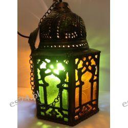 EGIPSKA ORIENTALNA LAMPA MOSIĘŻNA / KOLOROWE SZKŁO