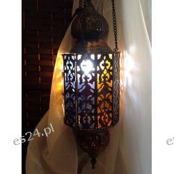 MOSIĘŻNA PODŁUŻNA LAMPA W ORIENTALNYM STYLU I KOLOROWE SZKŁO