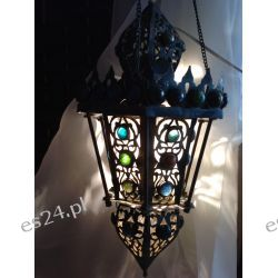 ORIENTALNA ETNICZNA LAMPA ZE STAREGO MOSIĄDZU I KOLOROWYCH PACIORKÓW