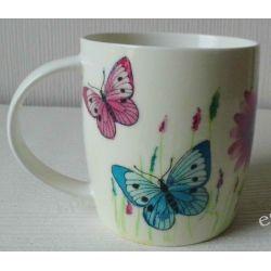 Ceramiczny kubek z motywem-kwiaty i motyle.