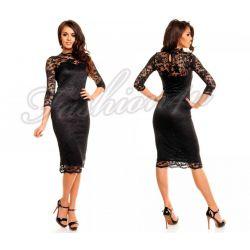 *Fsh4u* Koronkowa sukienka do kolan, rękaw 3/4  M